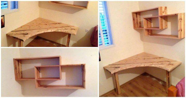 DIY Pallet Desk with Art Style Shelves - Easy Pallet Ideas