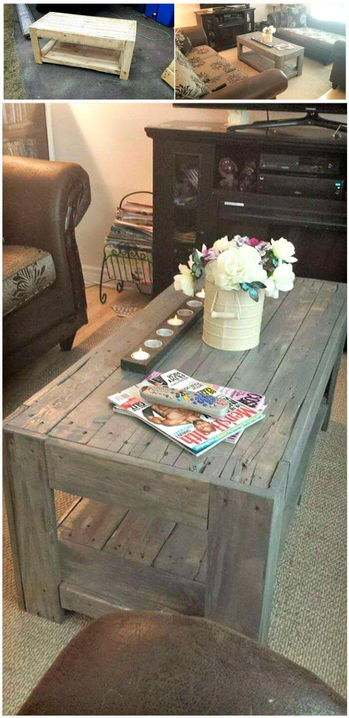 DIY Wood Pallet Coffee Table - Easy Pallet Ideas - Pallet Furniture