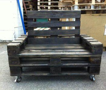 recycled pallet stained rolling chair