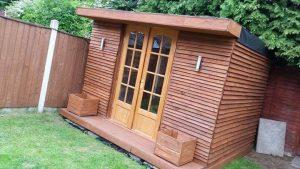 recycled pallet wood outdoor cabin