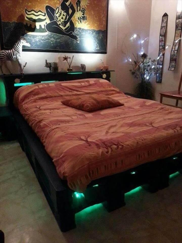 upcycled pallet headboard with lights