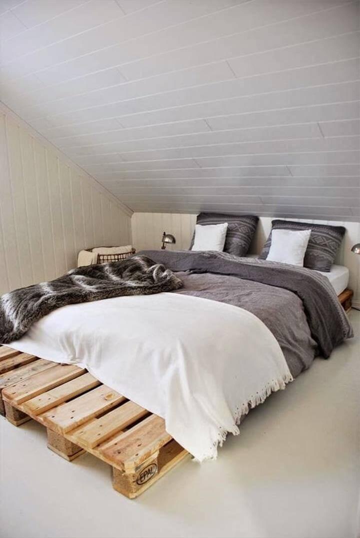 rustic pallet platform bed