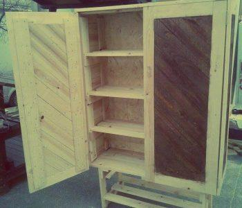diy pallet cabinet with inside shelves