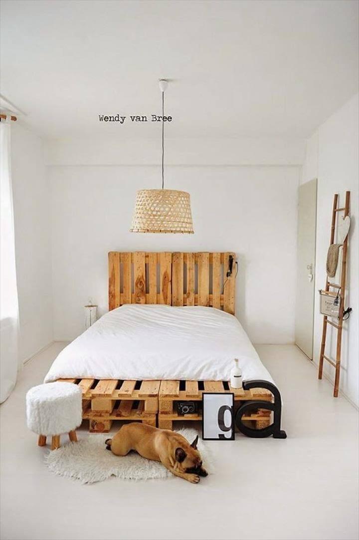 handmade pallet platform bed design
