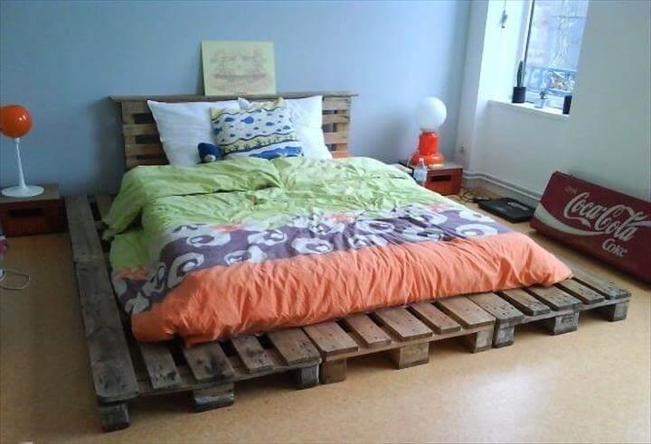 rustic pallet wide platform bed