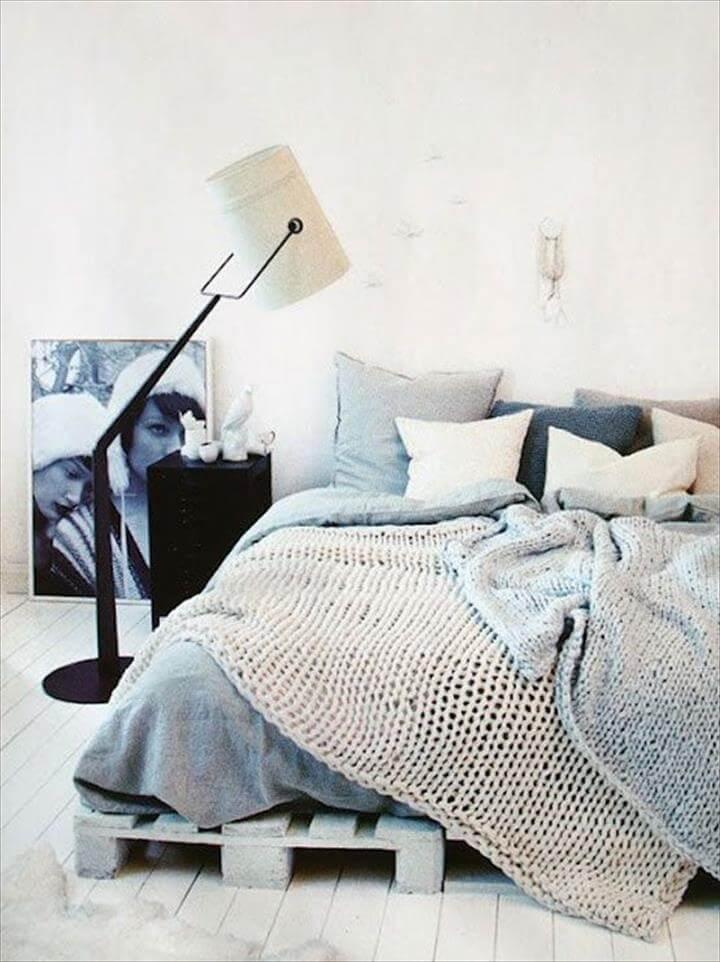 modern chic white pallet platform bed