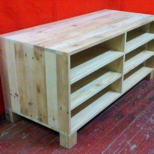 handmade pallet media console and TV stand