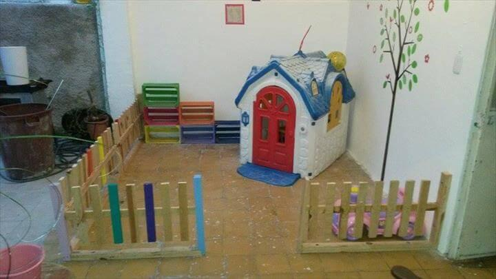 reclaimed pallet baby playhouse fencing