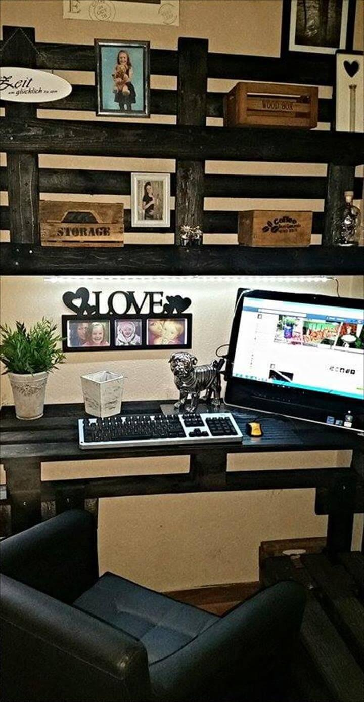 Diy Pallet Computer Desk With Wall Shelf Easy Pallet Ideas