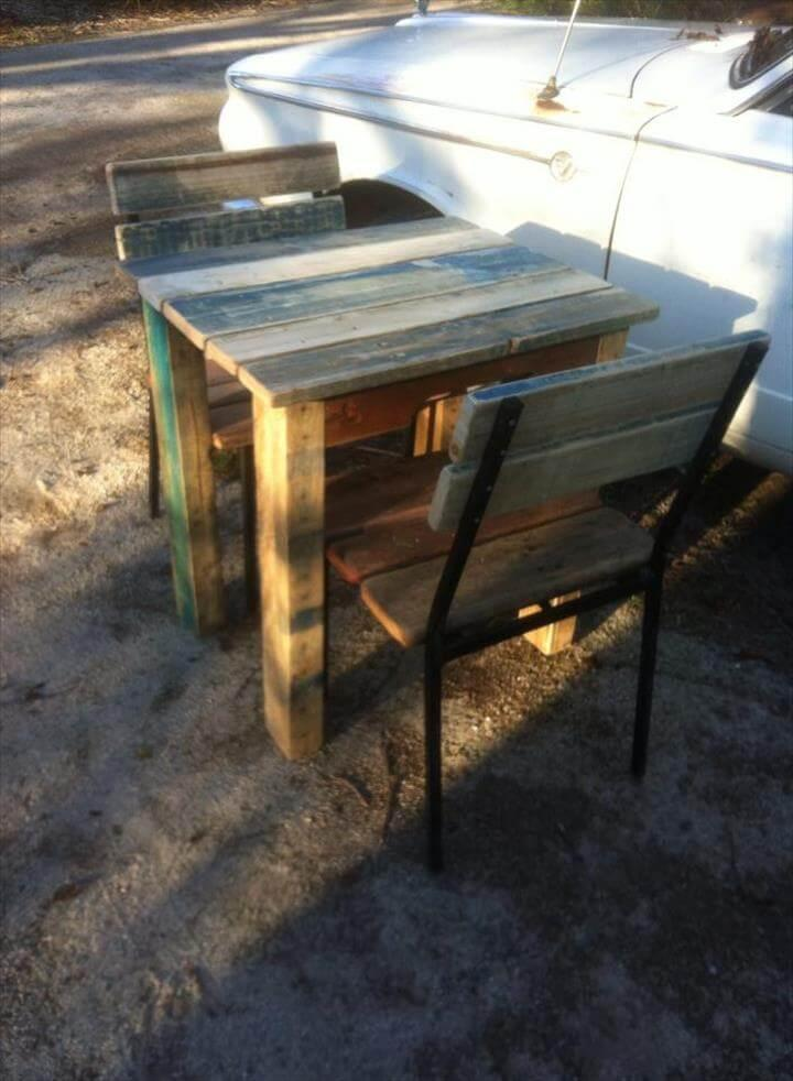 recycled pallet breakfast table and table with metal frame