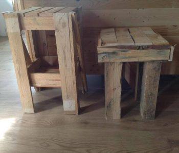 repurposed pallet footstool and nightstand