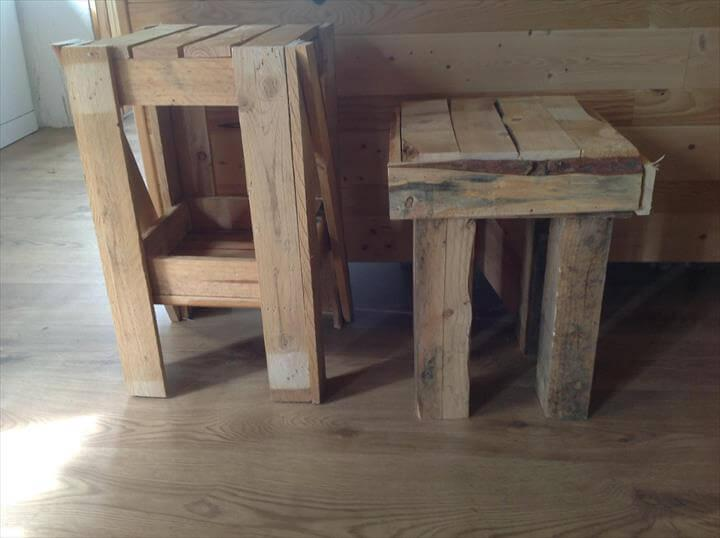 repurposed pallet footstool and nightstand