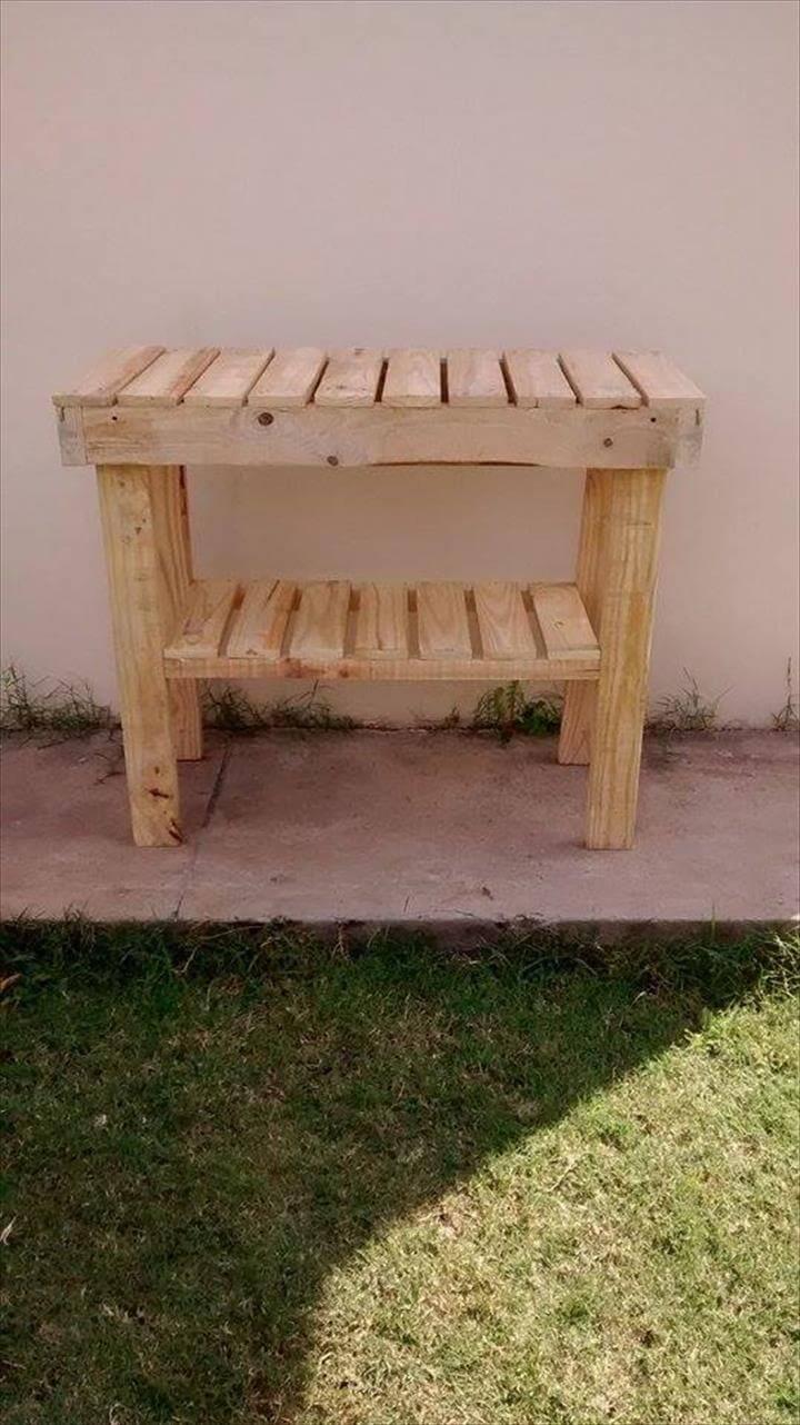 handmade diy pallet kitchen island or end table