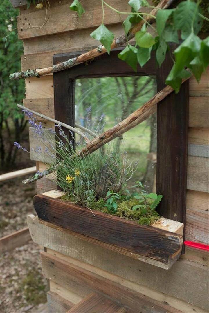 pallet garden bath mirror