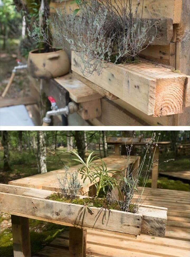 pallet outdoor bath hoses and planters