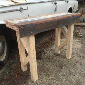 upcycled pallet patio table with raised top
