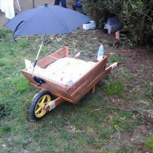 upcycled pallet wheelbarrow baby cradle