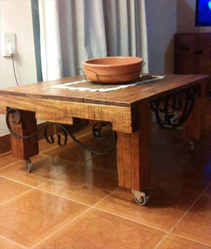 repurposed pallet rolling coffee table