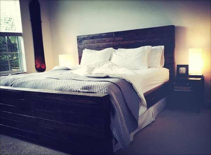 diy black stained pallet bed design