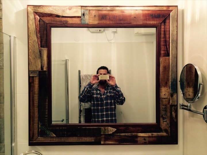 handmade wooden pallet mirror accent