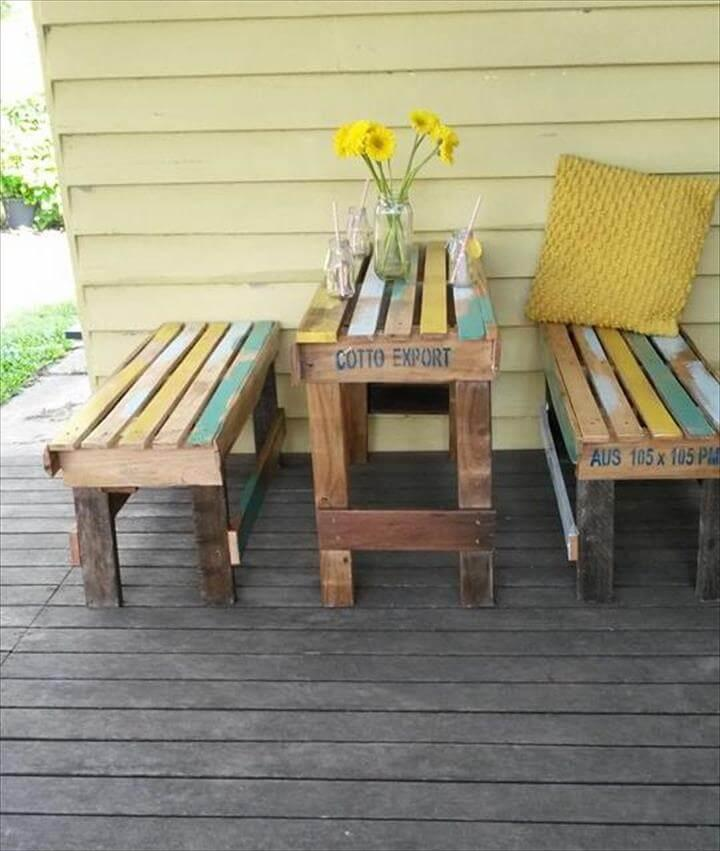 handcrafted pallet breakfast table with benches