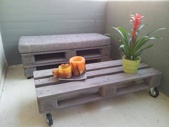 repurposed pallet rolling table and cushioned bench