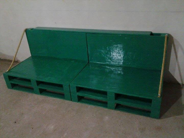 green painted pallet sofa