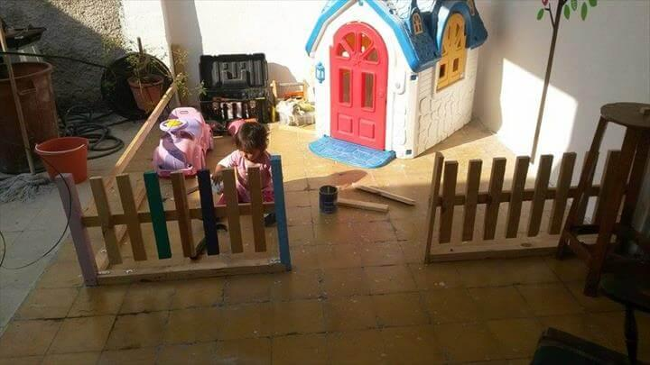 upcycled pallet baby playhouse fencing