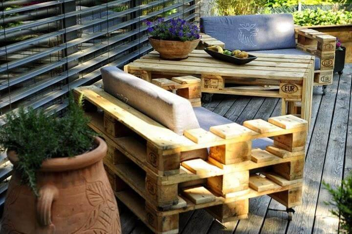 pallet cushioned benches and sofas