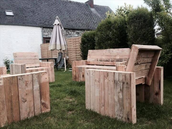 recycled old pallet benches and chairs