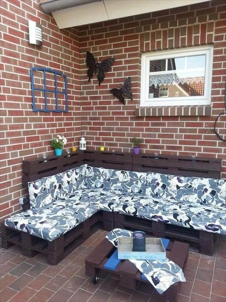 recycled pallet cushioned sectional sofa
