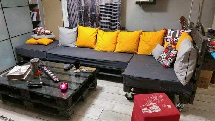 diy black rolling pallet sectional sofa with black cushion