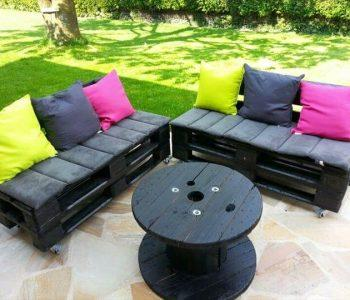 upcycled pallet black painted sofa with cushion
