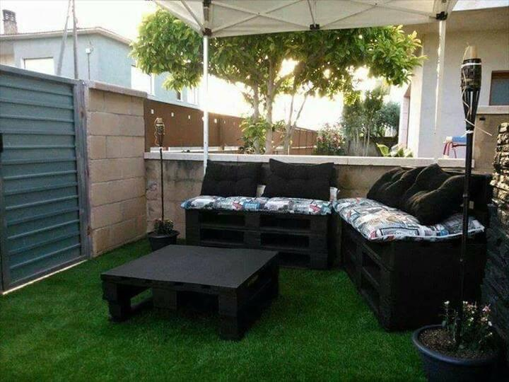 black stained pallet outdoor sectional sofa