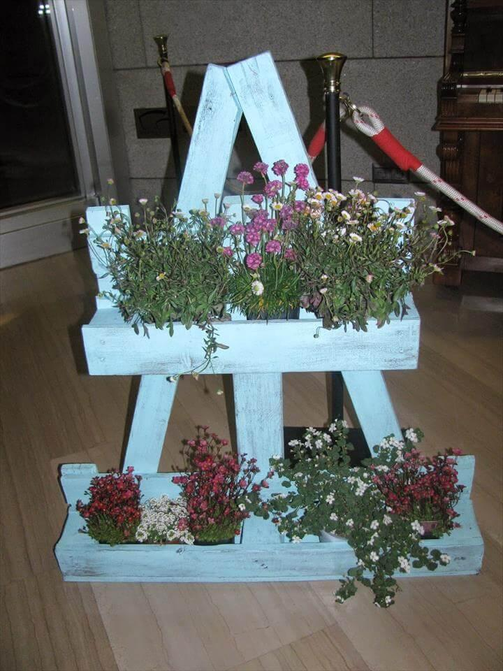 recycled 2 tiered chalk painted planter