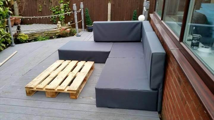 recycled whole pallet upholstered L-sofa
