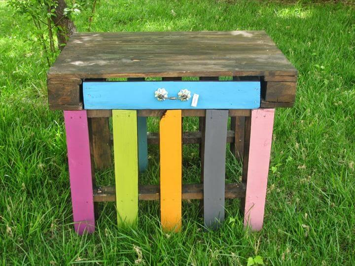 recycled pallet black stained table