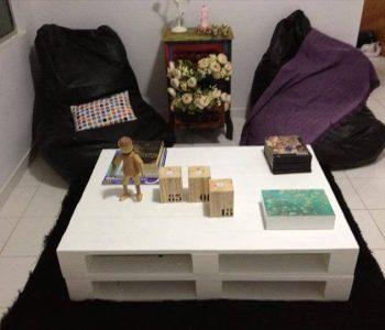 recycled pallet white coffee table with storage