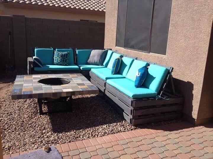 upcycled pallet sectional sofa with cushion