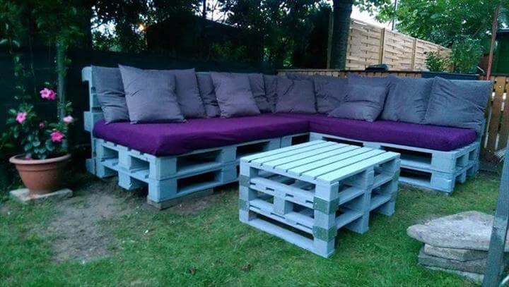 L-shape pallet garden sofa