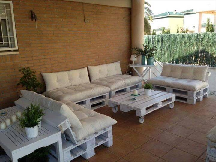 chic white whole pallet sofa with white cushion