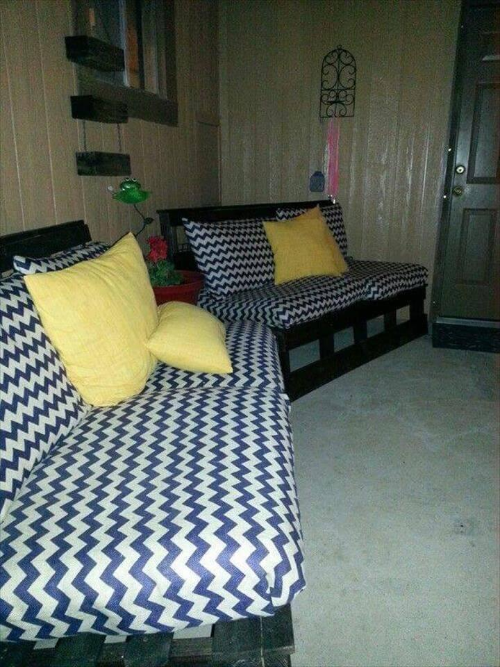 diy cushioned pallet sofas with backrests