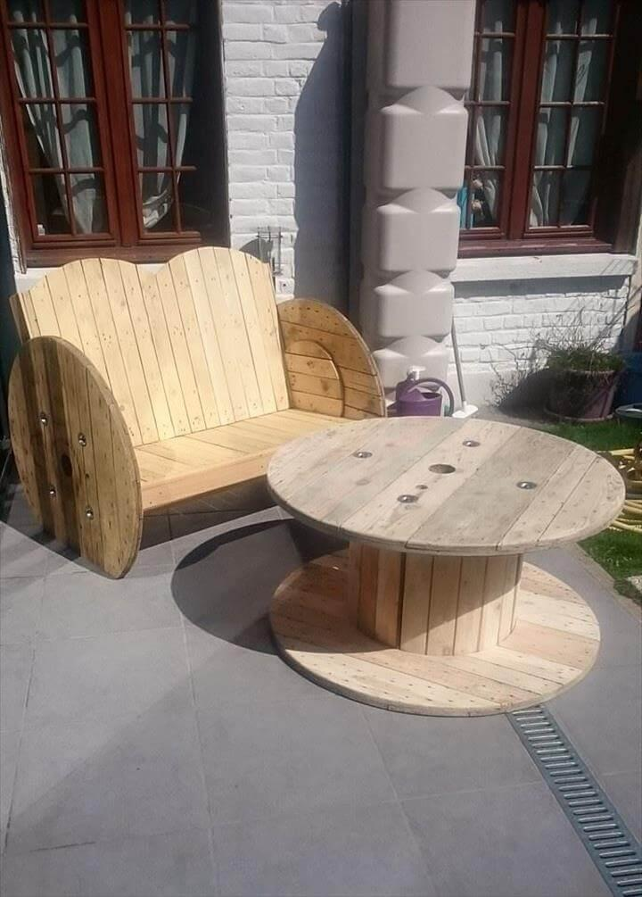 recycled pallet and cable spool garden bench