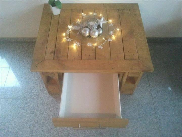 recycled pallet coffee table with drawer