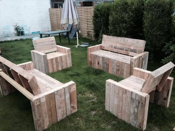 upcycled pallet patio benches and chairs