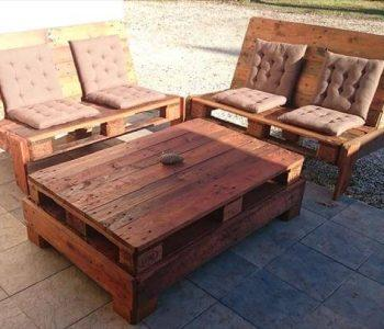 recycled pallet tufted lounge chairs and coffee table