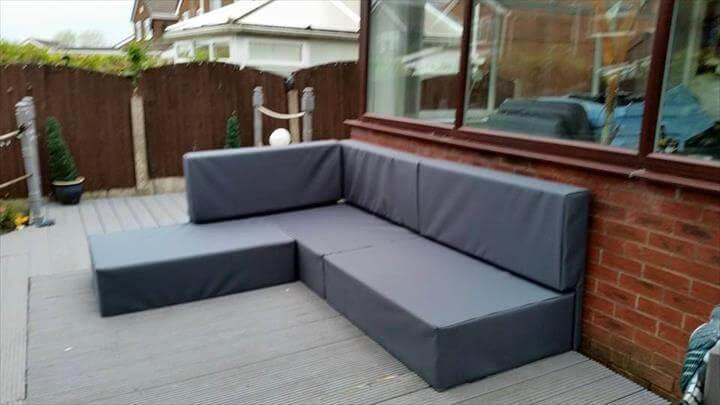 upcycled pallet upholstered L-sofa