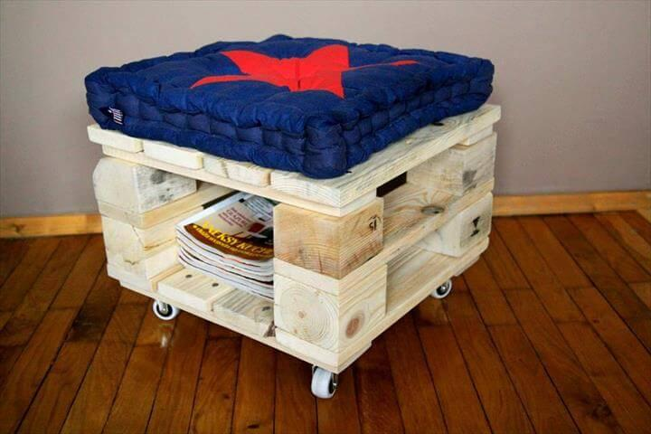 recycled pallet wheelie ottoman