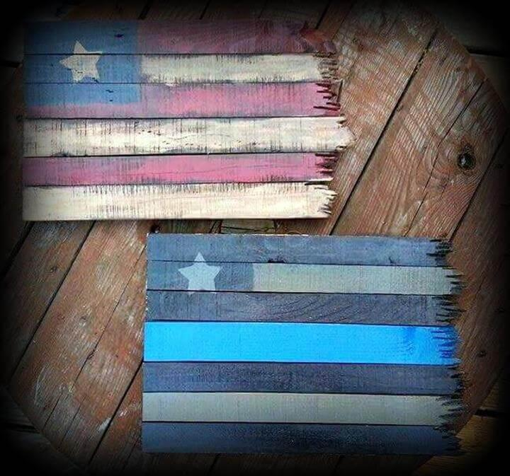 recycled pallet flag sign
