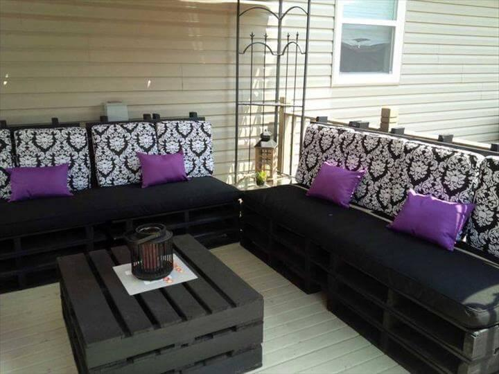 black stained whole pallet sectional sitting plan